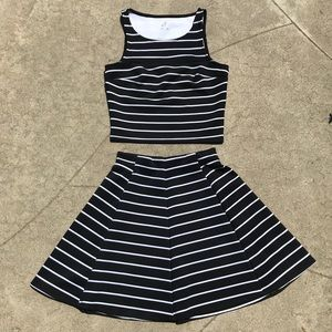 Decree 2 Piece Black and White Striped Dress:)